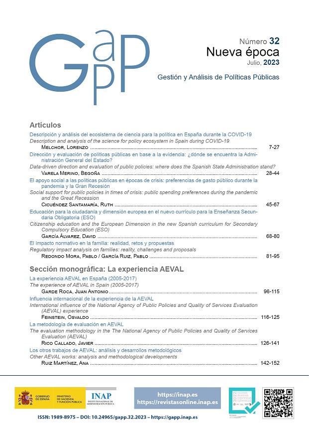 Imagen de inicio de la Revista Gestión y Análisis de políticas Públicas. Portada, nombre y logotipo