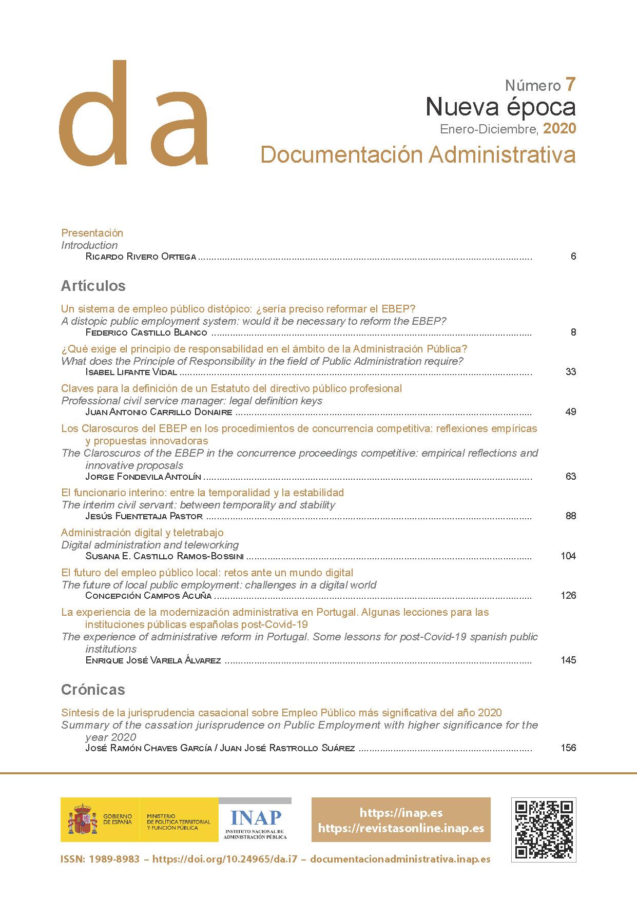 Ver Documentación Administrativa. Nueva Época. Número 7 (enero-diciembre 2020)